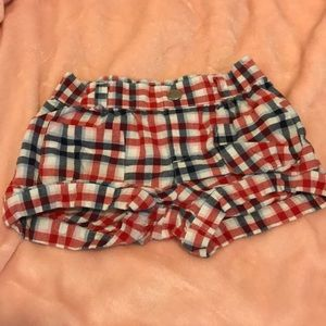 [Gymboree] red, white, & blue plaid 4T shorts